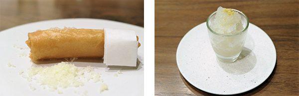 フカヒレの春巻と皮蛋のグラニテ